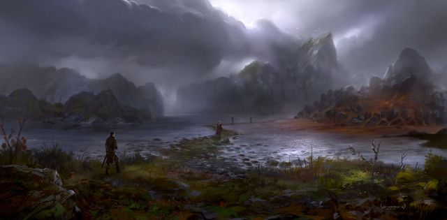 1600x787_7300_The_Red_Shallows_2d_fantasy_landscape_water_adventure_dark_journey_explorer_dramatic_fellowship_picture